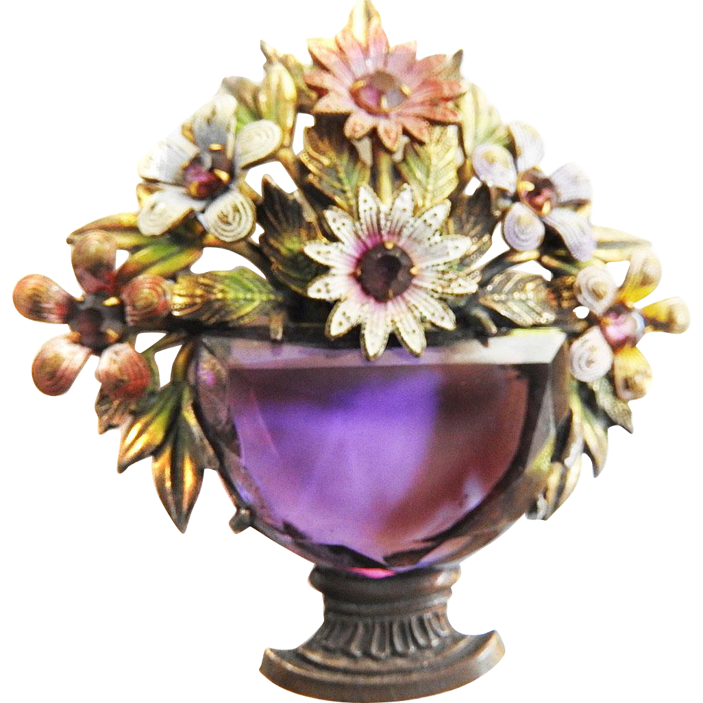 Awesome Early 1900s  1920s Amethyst Flower Brooch