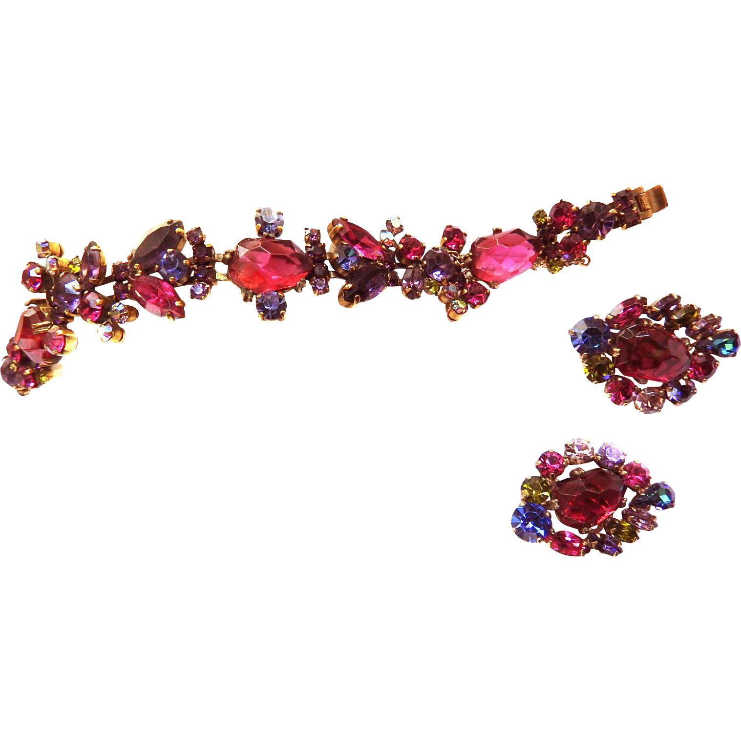 Vintage Weiss Breathtaking Geode raspberry Glass Bracelet and Earrings