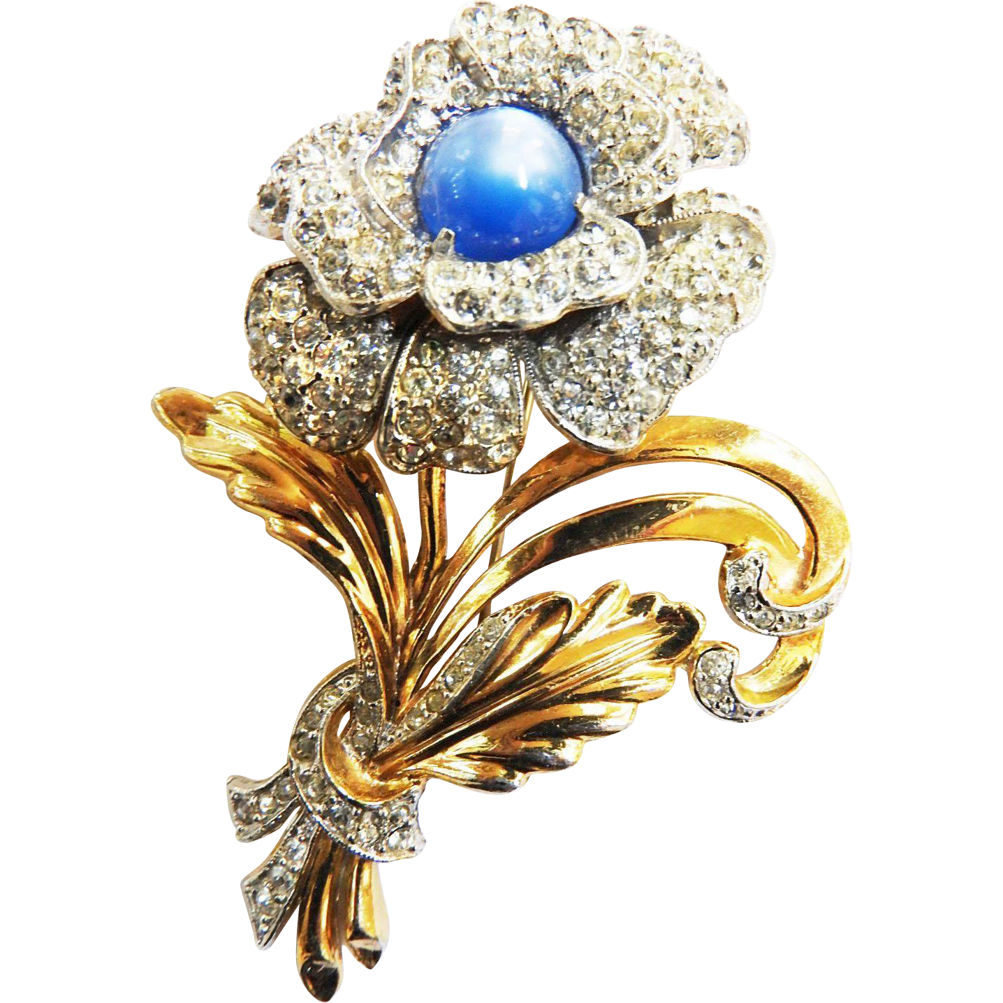 Breathtaking Designer Huge 1940s Flower Brooch
