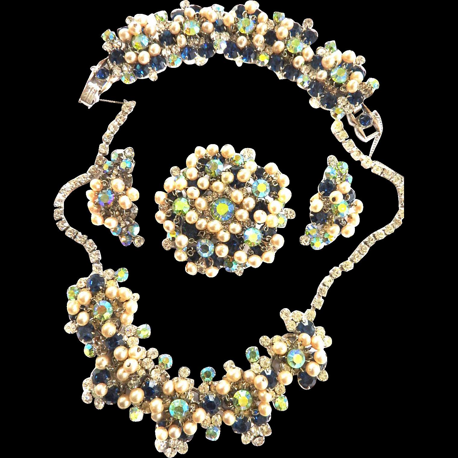 Juliana Faux Pearl Drippy Rhinestone Necklace Bracelet Earrings Brooch