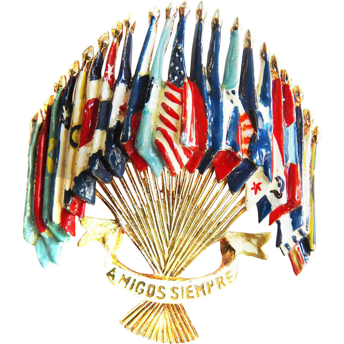 Vintage Amigos Siempre Friends of The World Coro Brooch