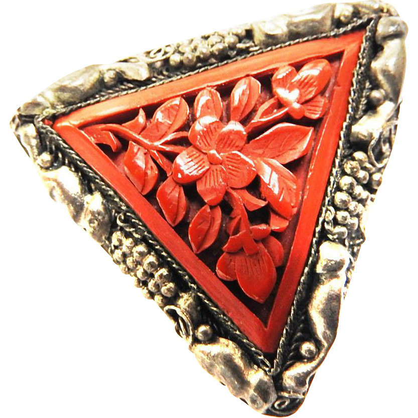 1940s Chinese Triangular Dress Clip Cinnabar