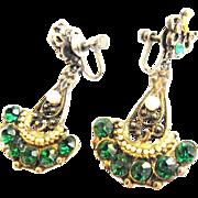 Vintage 1930s -1940s drippy Chandelier Emerald Green Rhinestone Earrings With Faux Pearls