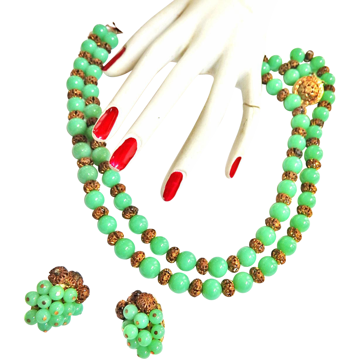 Vintage 50s Faux Jade Beaded 2 Row necklace and Earrings
