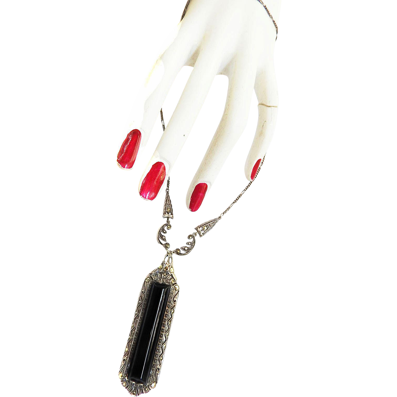 Exquisite 1920s Marcasite Black Onyx Sterling Drop Necklace