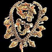 Incredible Vintage Etruscan Charm Necklace Bracelet Earrings