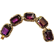 Gorgeous Heavy Chunky 1950s Amethyst Glass Bracelet