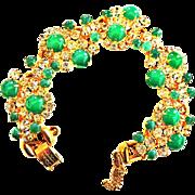 Vintage Juliana Faux Jade Cabochon and Rhinestone Bracelet