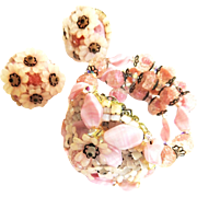 Breathtaking Hobe Bracelet and Earrings 40s PInk and Cream
