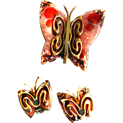 Matisse Enamel and Copper Pink Butterfly Pin Brooch and Earrings Vintage