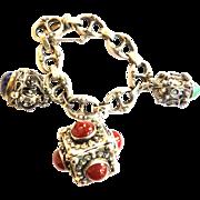 Massive FOB Italian 800 Silver Carnelian Lapis Jadite Charm Bracelet Vintage
