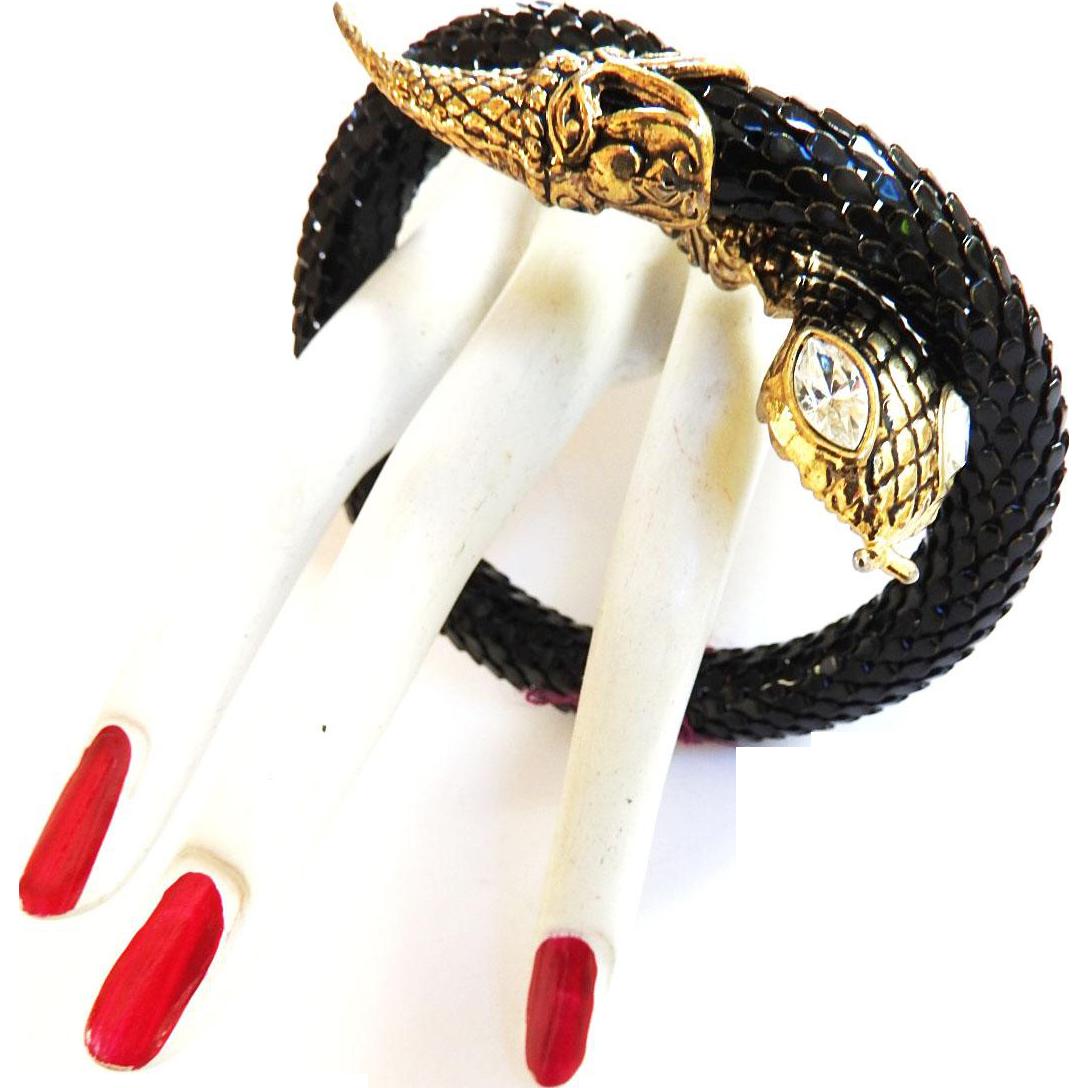 Designer 1970s Black Cobra Wrap Bracelet