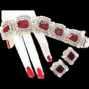 Heart Throbbing Kramer Vintage Red Bracelet and Earrings Demi