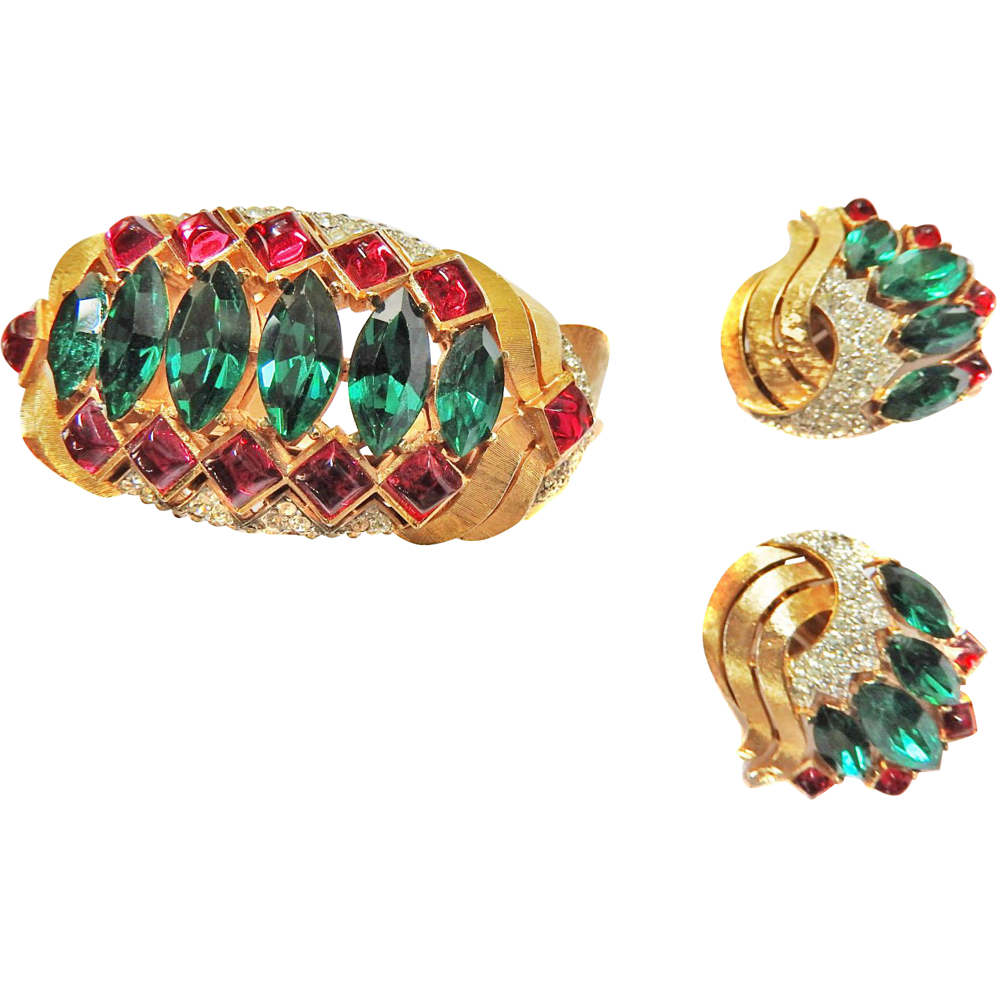 Magnificent Jewels of India Trifari Cuff Bracelet and Earrings