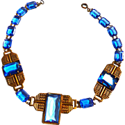 Early 1900s Egyptian Revival Deep Blue Collar Necklace