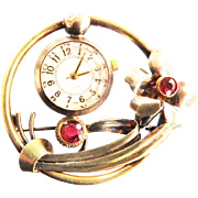 Spectacular Watch Brooch 1940s Works Great