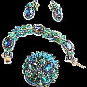 Sought After Juliana Bermuda Blue Bracelet Brooch and Earrings