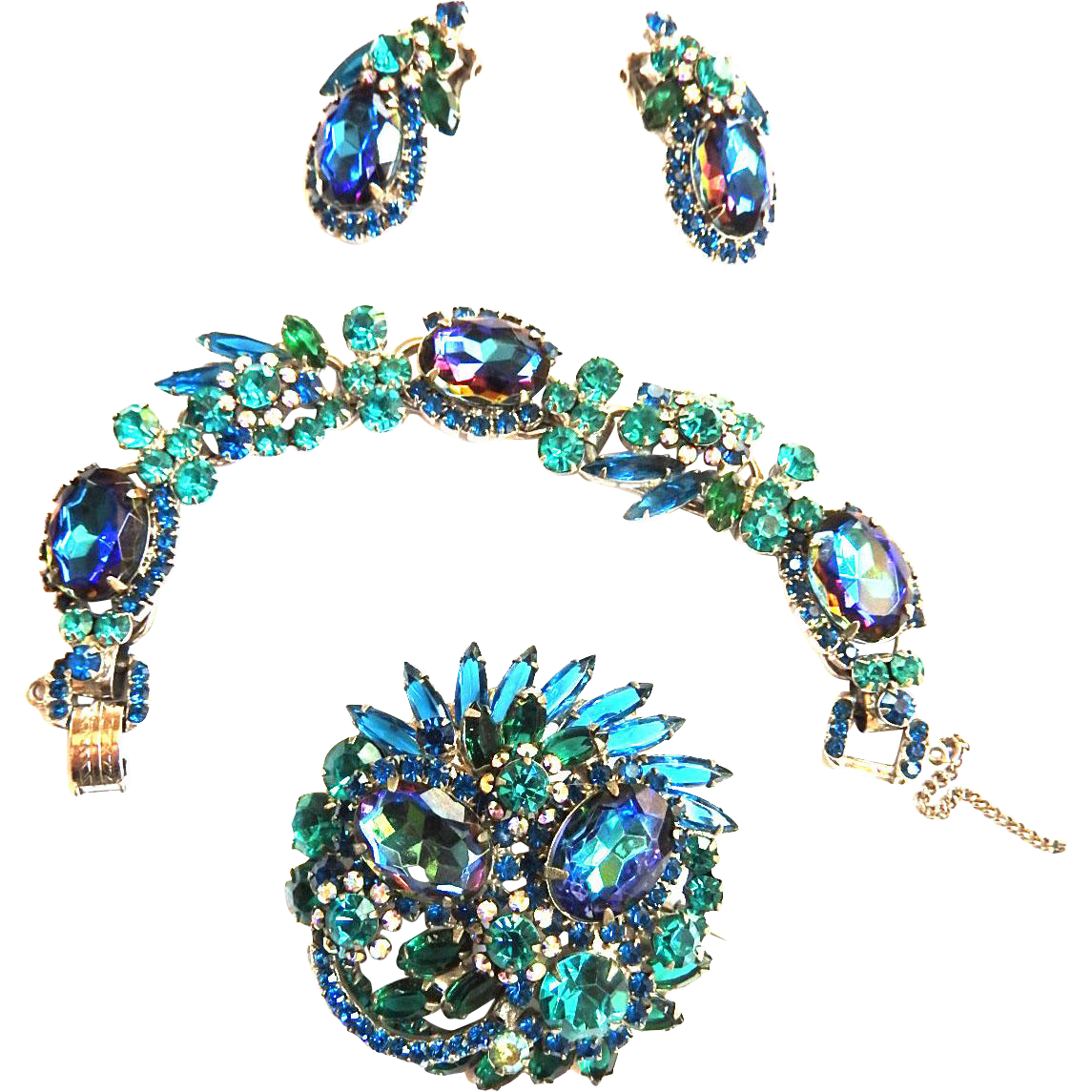 Sought After Juliana Bermuda Blue Bracelet Brooch and Earrings