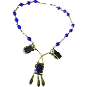 Early 1900s Lapis Art Glass Czech Drippy Necklace