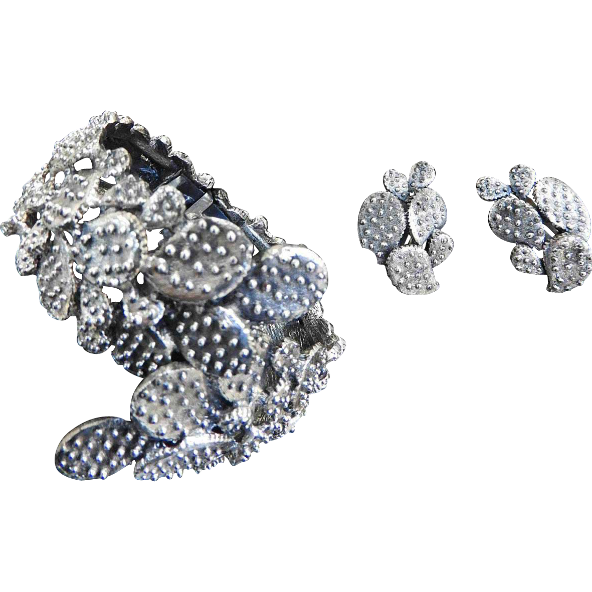 1950s Tortollani Cactus Clamper Bracelet and Earrings