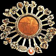Humongous Goldette Stick Pin Brooch Vintage 50s