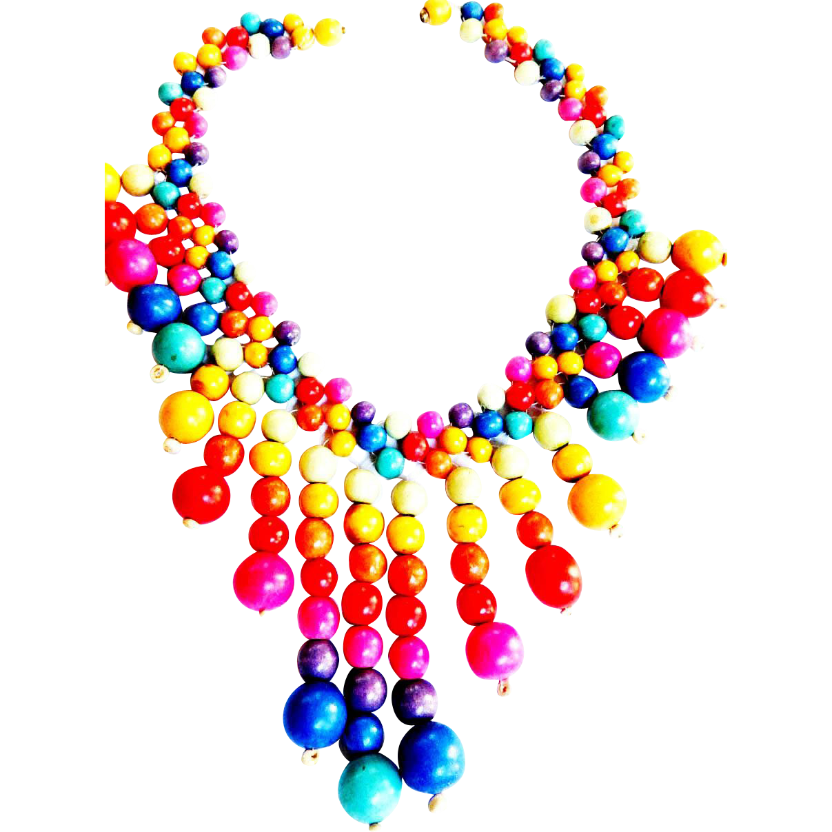 Fun Fun Primary ColorWood Collar Necklace 50s