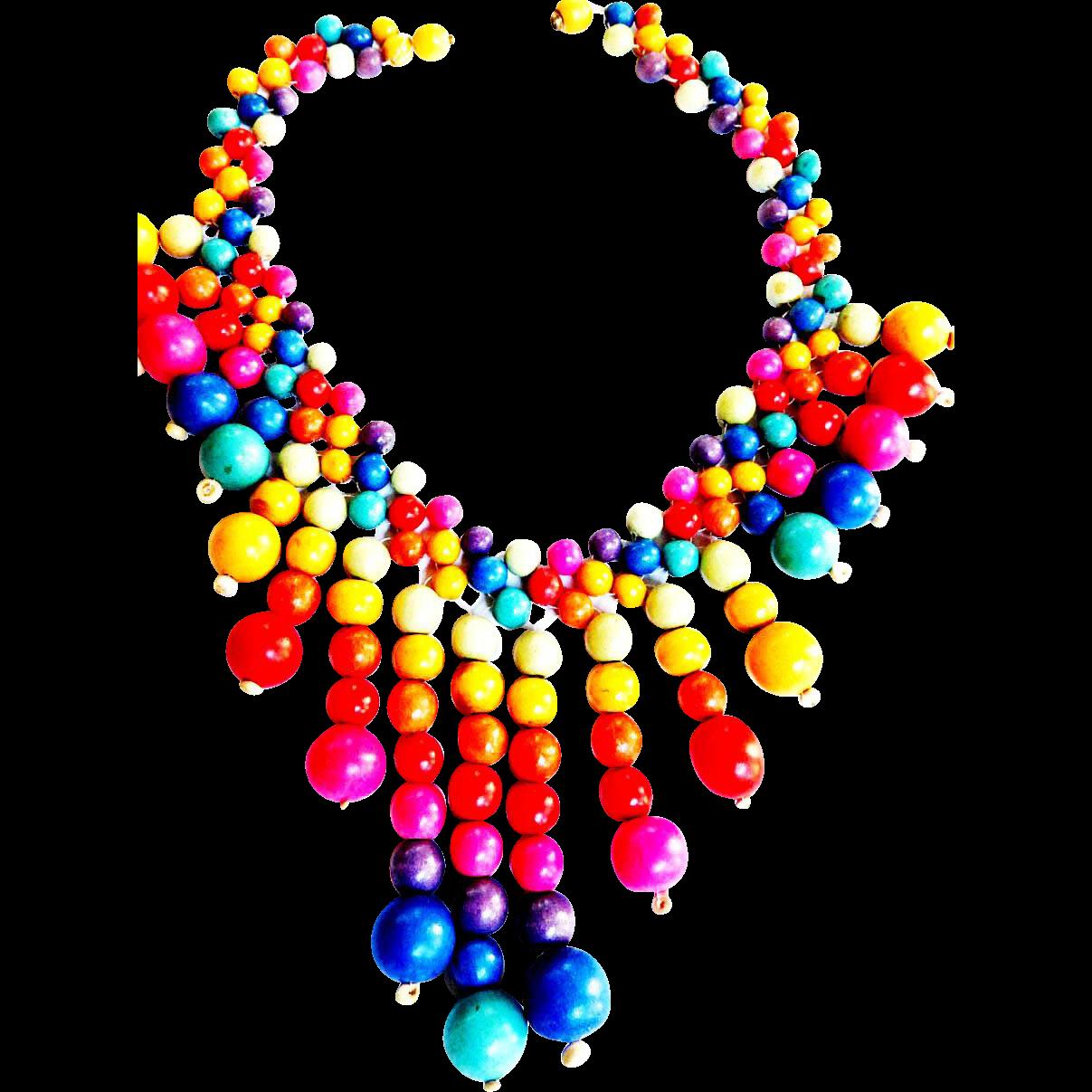 Fun Fun Primary ColorWood Collar Necklace 50s
