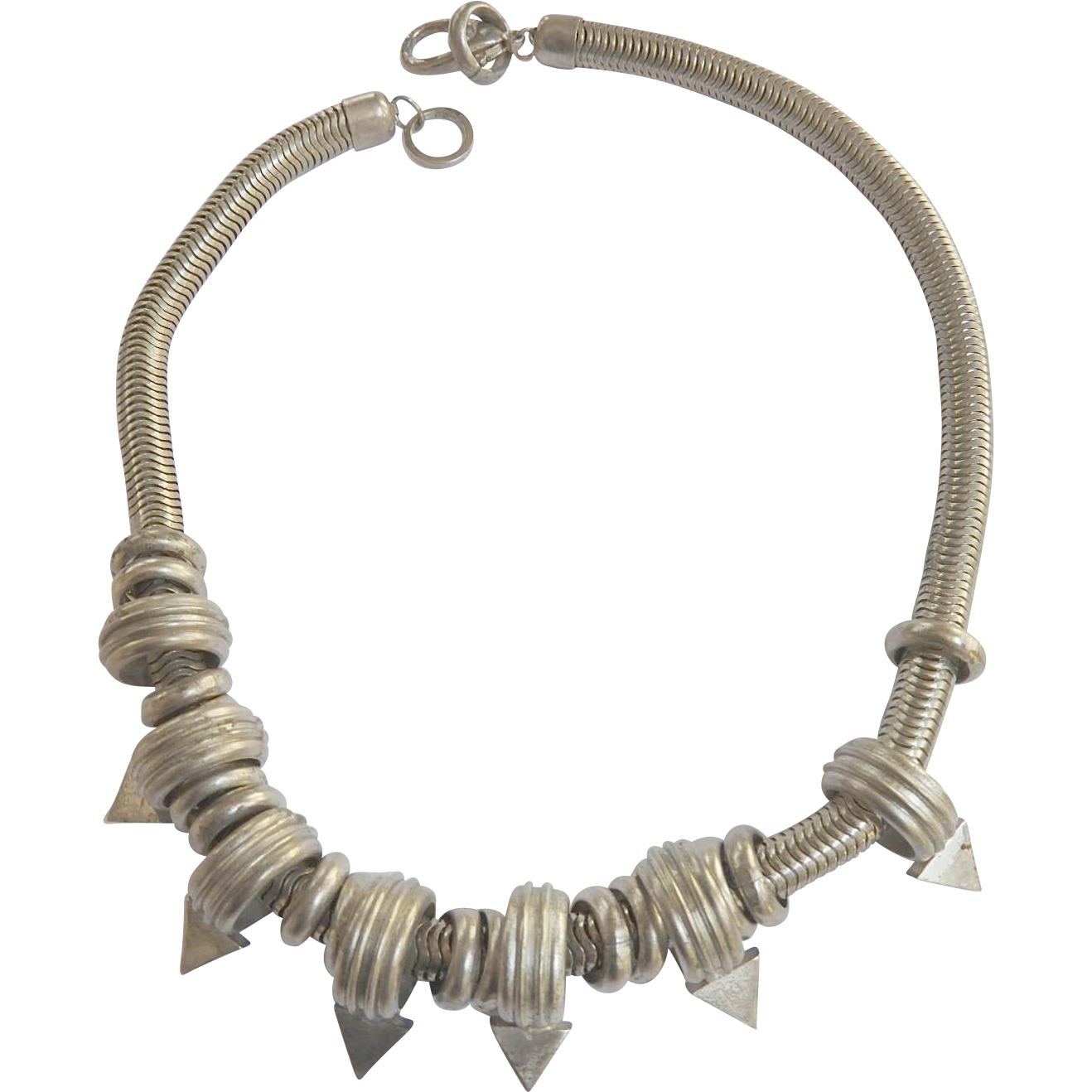 Modernistice Chunky 1980s Silver Color Necklace