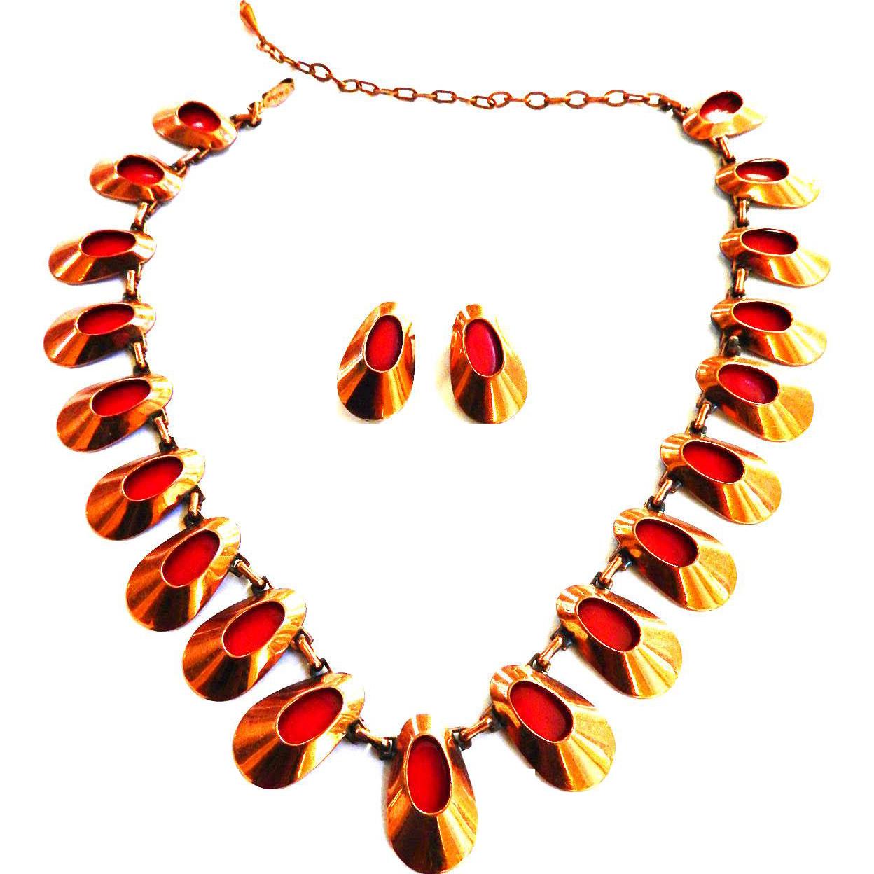 Matisse Copper Enamel Red Honey Bear Necklace And Earrings