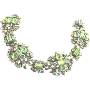 Hollycraft Exquisite Peridot Chunky Bracelet 1950s