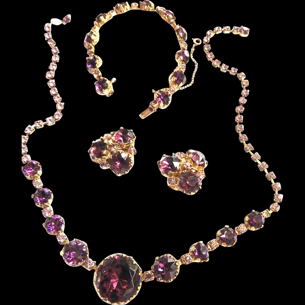 Classic Amethyst Rhinestone Necklace Bracelet Earrings