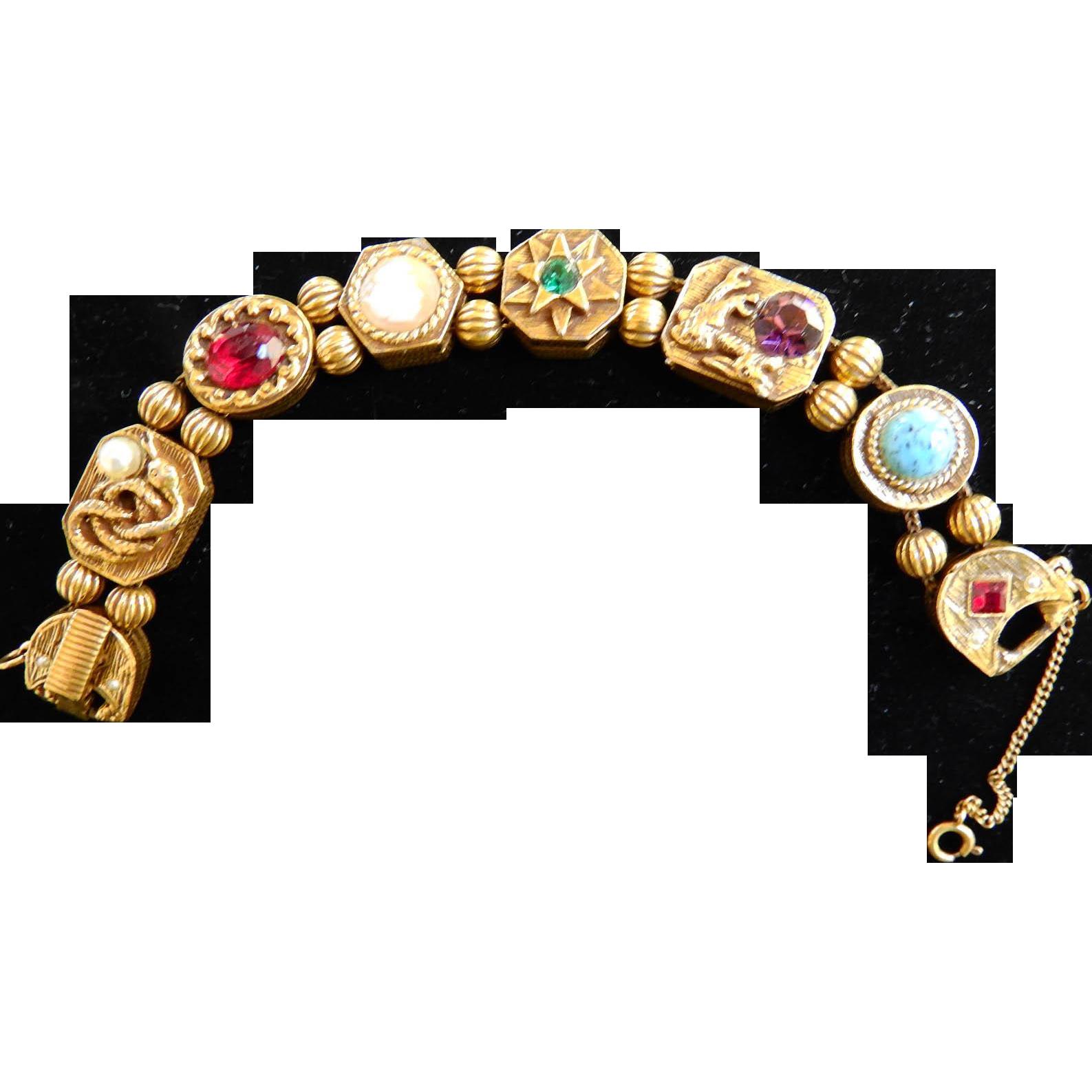 Griffins and Serpents Oh MY Goldette Slide Bracelet  Vintage