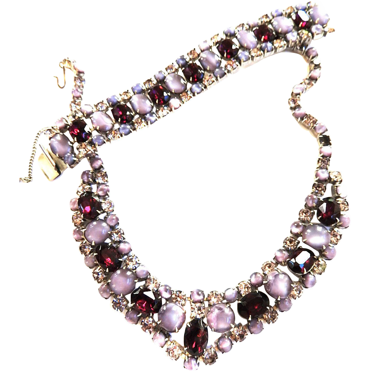 Lavender and amethyst Bib/Collar Necklace and Bracelet