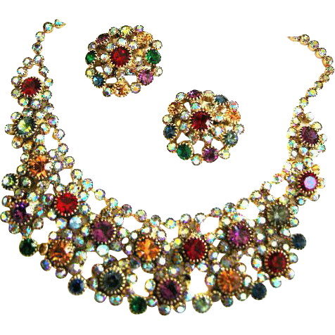 Jaw Dropping Magnificent Bib Collar Designer Necklace Earrings