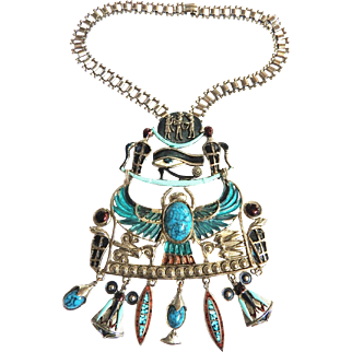 Egyptian Revival Dangling Charms Vintage  Breast Plate Necklace