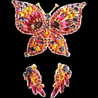 Juliana Butterfly Brooch and Earrings Demi