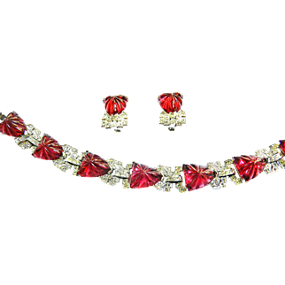 Magnificent Ledo/Polcini Art Glass Ruby Red Bracelet and Earrings