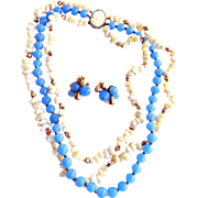 Vintage Hattie Carnegie 3 Row Periwinkle Blue Demi Parure Necklace Earrings