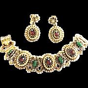 Vintage Faux Pearl Rhinestone Designer Bracelet and Earrings