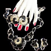 Elegant Hobe Jet Black Malorka Art GlassParure