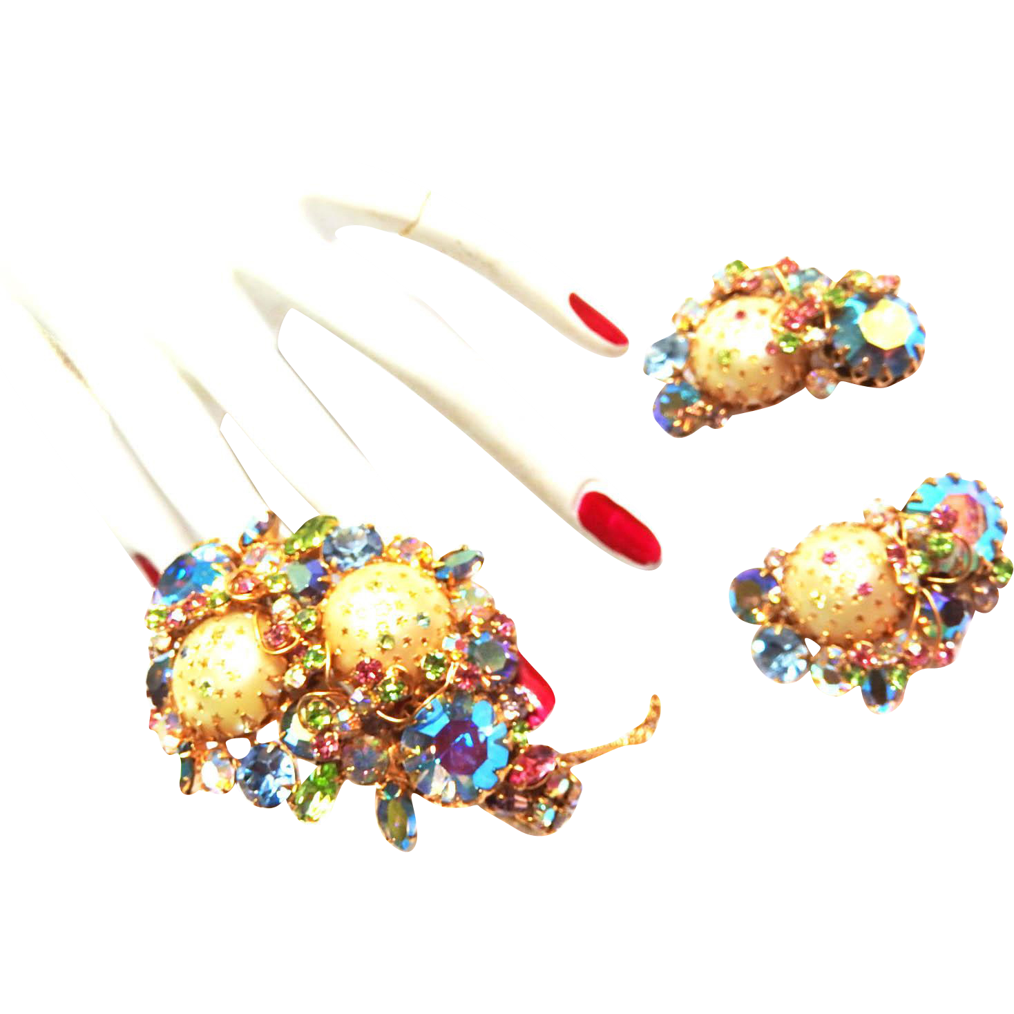Show Stopping Designer Art Glass  Faux Pearl Clamper Bracelet And Earrings