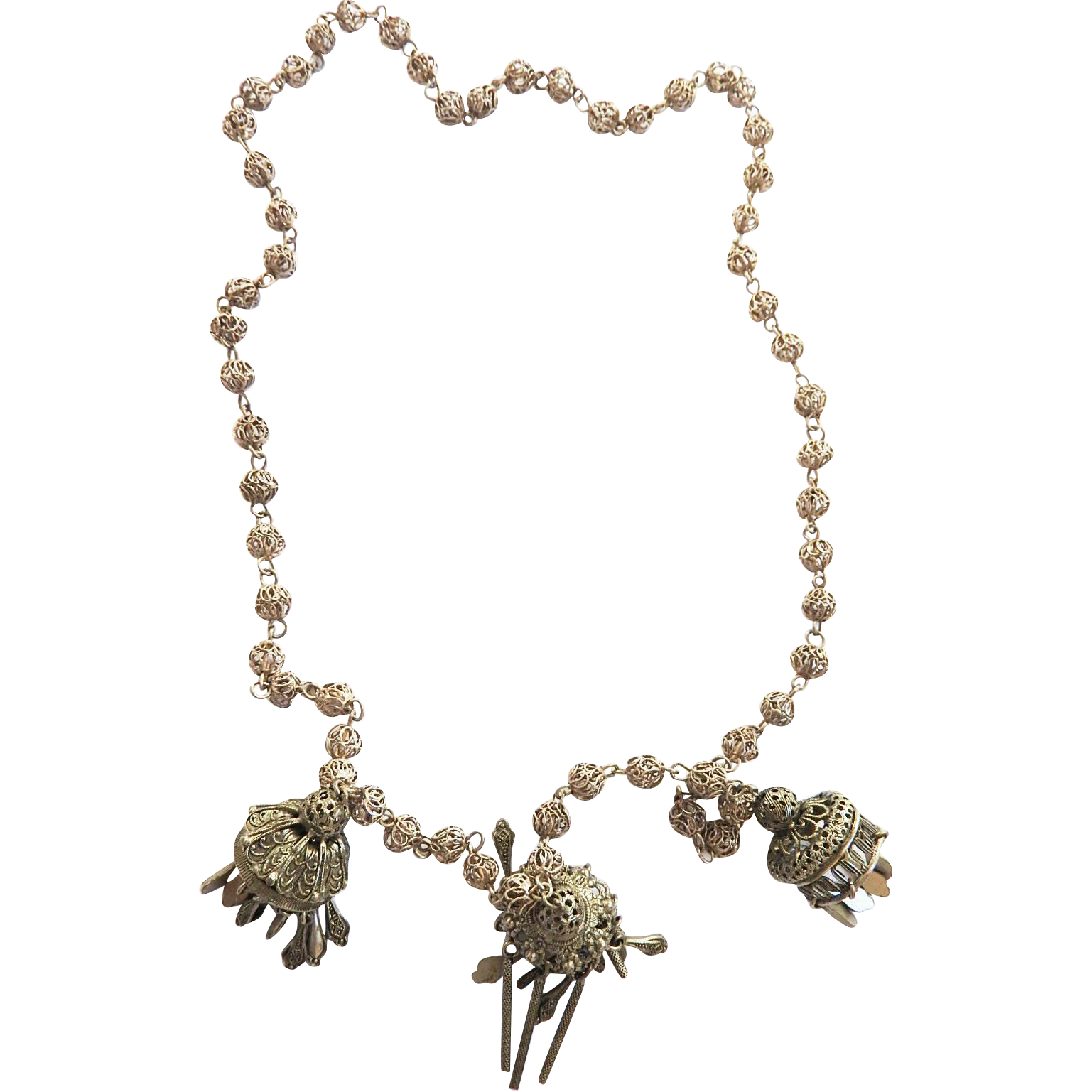 Asian Drippy   Lantern Necklace with Exquisite Chain Vintage 40s