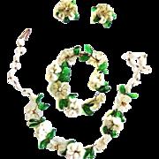 1940s Italian Glass Flower Necklace Bracelet Earrings
