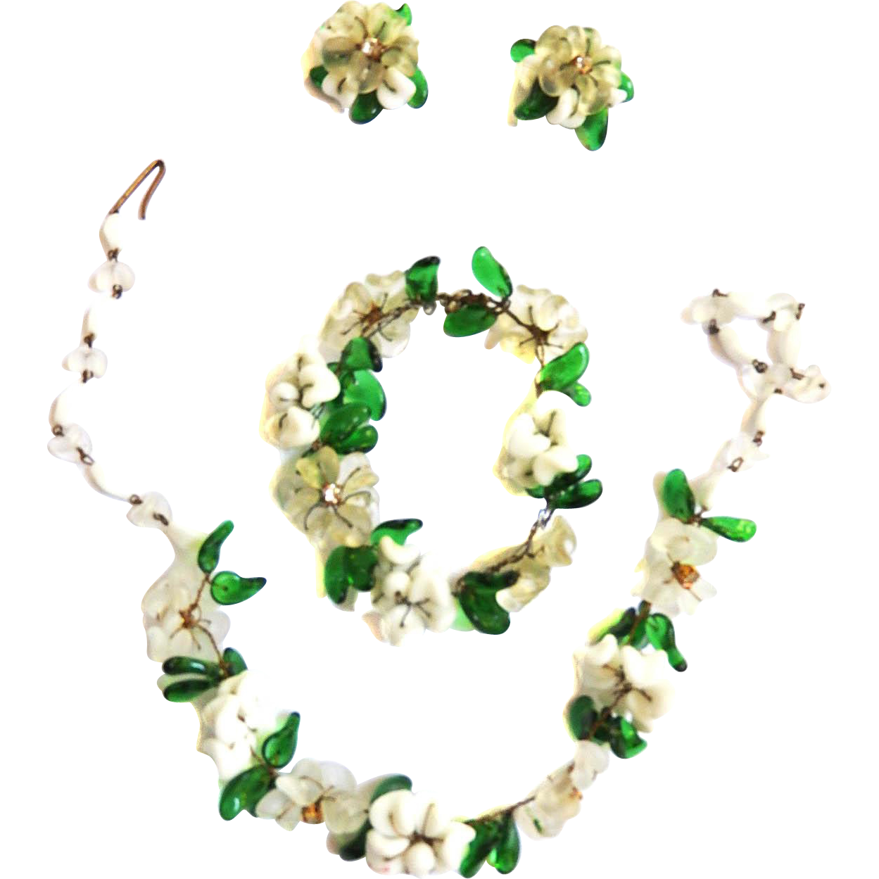 1940s Italian Glass Flower Necklace Bracelet Earrings