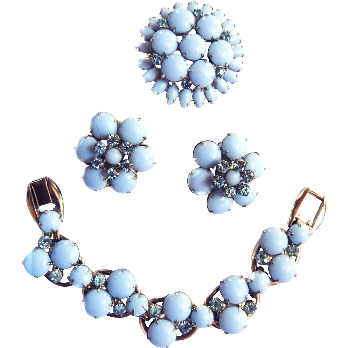 Vintage Juliana Baby Blue Bracelet Earrings Brooch