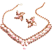Vintage Striped High End Pink Necklace and Earrings