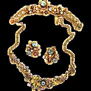 High End Unsigned Designer Vintage Parure Earrings Necklace Bracelet w Faux Pearls