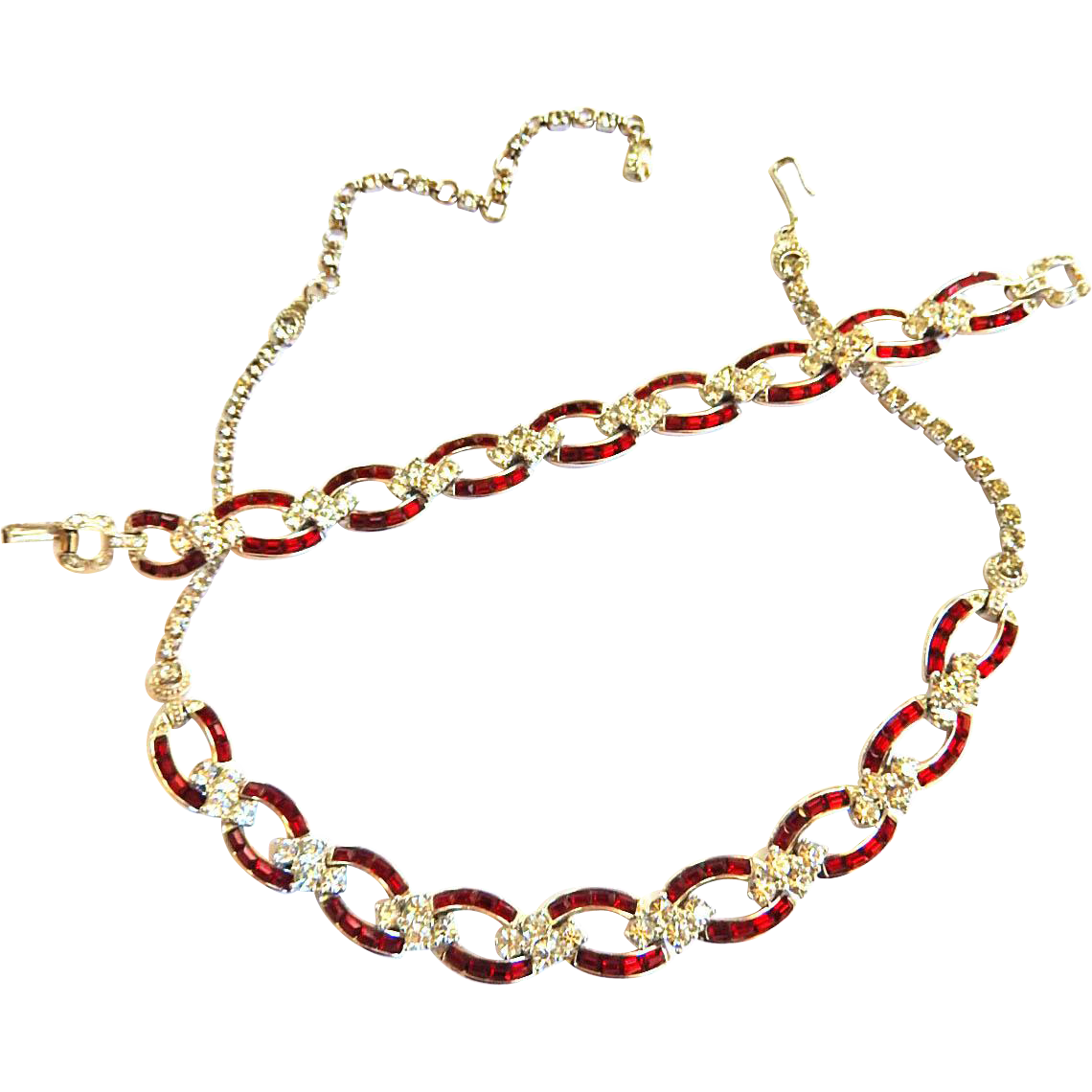 Exquisite Pennino Ruby Red Vintage Necklace and Bracelet