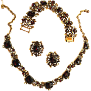 Breathtaking Garnet Vintage Necklace Bracelet and Earrings c. 1950 w Faux Pearls
