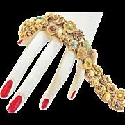 Cameo's Stars and Scarabs oh My Vintage Goldette Slide Bracelet